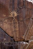 Coso Range Petroglyph. Native American rock art petroglyph close up of anthropomorphic like figure carved into desert varnish covered cliff in Little Petroglyph Stock Images