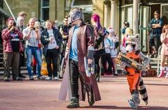 cosplay的星系的监护人 免版税库存照片