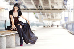 Cosplay η τυφοειδής Mary, γυναίκα με το μαύρο κοστούμι Στοκ Φωτογραφίες