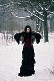 Cosplay黑色巫婆在冬天森林里 免版税库存照片
