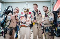 Cosplay as Ghostbusters characters. Birmingham, UK - November 18, 2017: Cosplayers dressed as characters from the film Ghostbusters at Birmingham MCM Comic Con stock photo