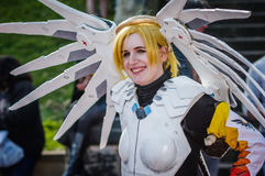 Cosplay as `Mercy` from Overwatch Royalty Free Stock Photo