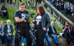 Cosplay as `The Punisher`. Scarborough, UK - April 08, 2017: Cosplayers dressed as the Marvel character `The Punisher` pose during the cosplay competition at Sci stock image