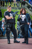 Cosplay as `The Punisher`. Scarborough, UK - April 08, 2017: Cosplayers dressed as the Marvel character `The Punisher` pose during the cosplay competition at Sci stock photos