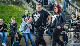 Cosplay as `The Punisher`. Scarborough, UK - April 08, 2017: Cosplayers enter the competition at Sci-Fi Scarborough dressed as the Marvel character `The Punisher royalty free stock image