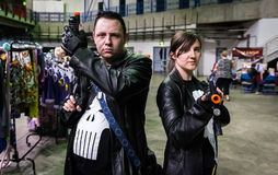 Cosplay as `The Punisher`. Sheffield, UK - June 12, 2016: Cosplayers dressed as `The Punisher` from Marvel at the Yorkshire Cosplay Convention at Sheffield Arena royalty free stock photos