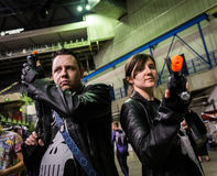 Cosplay as `The Punisher`. Sheffield, UK - June 12, 2016: Cosplayers dressed as `The Punisher` from Marvel at the Yorkshire Cosplay Convention at Sheffield Arena stock image