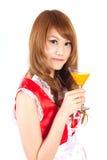 Cosplay av exponeringsglas för orange fruktsaft för hembiträdedrink på vit backgound Royaltyfria Foton