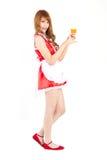 Cosplay av exponeringsglas för orange fruktsaft för hembiträdedrink på vit backgound Fotografering för Bildbyråer