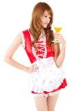 Cosplay do vidro do suco de laranja da bebida da empregada doméstica no backgound branco Imagem de Stock Royalty Free