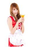 Cosplay do vidro do suco de laranja da bebida da empregada doméstica no backgound branco Imagens de Stock Royalty Free