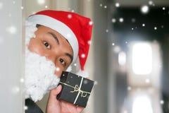 Cosplay för manXmas-jul jultomten för överraskning royaltyfria foton