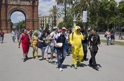 Cosplay fans i Barcelona, Spanien Royaltyfria Foton