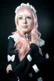 Cosplay girl. On black background Stock Photos