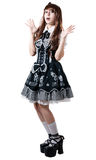 Cosplay girl in black dress Royalty Free Stock Photos