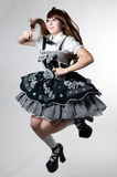 Cosplay girl in black dress Royalty Free Stock Images