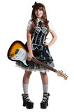 Cosplay girl in black dress with guitar Royalty Free Stock Photo
