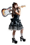 Cosplay girl in black dress with guitar Stock Photography