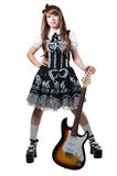 Cosplay girl in black dress with guitar Stock Photos
