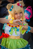 'PriPara' cosplay. Big Sight, Tokyo - December 30, 2014: Girl cosplaying as 'Mirei Minami' from the arcade game 'PriPara' at Stock Image