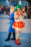 'Macross Frontier' cosplay. Big Sight, Tokyo - December 30, 2014: Girls cosplaying as characters from the series 'Macross Frontier' at Stock Images
