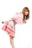 Cosplay of lolita on white backgound. Royalty Free Stock Image