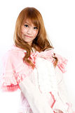 Cosplay of lolita on white backgound. Royalty Free Stock Photography