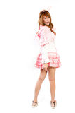 Cosplay of lolita on white backgound. Royalty Free Stock Images