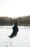 Cosplay Mädchen im schwarzen konstanten Kleid Lizenzfreie Stockfotografie