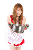Cosplay of Maid cooking on white backgound. Royalty Free Stock Image