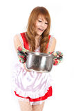 Cosplay of Maid cooking on white backgound. Stock Images