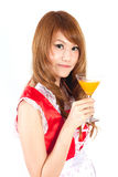 Cosplay of Maid drink Orange juice glass on white backgound. Royalty Free Stock Photos