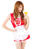 Cosplay of Maid drink Orange juice glass on white backgound. Royalty Free Stock Image