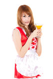 Cosplay of Maid drink Orange juice glass on white backgound. Royalty Free Stock Images