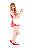 Cosplay of Maid drink Orange juice glass on white backgound. Stock Image