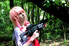 ``Cosplay: Mirai Nikki~Gasai Yuno`` royalty free stock images