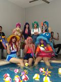 Cosplay pool party stock photos