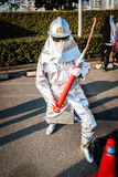 Cosplay as a firefighter. Big Sight, Tokyo - December 30, 2014: Cosplayer dressed as a firefighter at Comiket 87. Comiket is the world's largest &#x27 Royalty Free Stock Photography