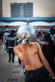 Cosplay as a Pokemon. Tokyo, Japan - December 30, 2014: Cosplaying as the Pokemon 'Magnemite' at Comiket.  Comiket is the world's largest &#x27 Royalty Free Stock Photo