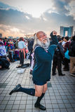 Cosplay in Tokyo. Tokyo, Japan - December 30, 2014: Old man dressed as a schoolgirl at Comiket.  Comiket is the world's largest 'dojinshi' &#x28 Stock Photos