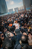 Cosplay in Tokyo. Tokyo, Japan - December 30, 2014: Popular cosplayer surrounded by fans at Comiket.  Comiket is the world's largest 'dojinshi' (fan made self Royalty Free Stock Images