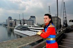 Cosplay Victoria Dock, escroc comique de MCM Londres images libres de droits