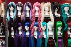 Cosplay wigs on sale at Festival del Fumetto conve. MILAN, ITALY - FEBRUARY 2: Cosplay wigs on sale at Festival del Fumetto, convention dedicated to comics and Royalty Free Stock Images