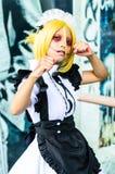 Cosplayer als Charaktere Annie Leonhardt-Mädchenversion vom Angriff auf Titanen in Japan Festa in Bangkok 2013. Lizenzfreies Stockbild