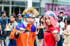 Cosplayer als karakters Naruto en Sakura van Naruto in Japan Festa in Bangkok 2013. royalty-vrije stock fotografie