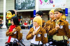 Cosplayer as characters from Attack on Titan. Stock Photo