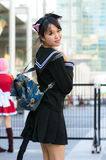 Cosplayer as characters Azusa Nakano from K-on!!. Royalty Free Stock Photo