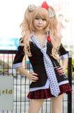 Cosplayer as characters Junko Enoshima from Danganronpa. Royalty Free Stock Photo