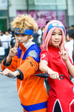 Cosplayer as characters Naruto and Sakura from Naruto in Japan Festa in Bangkok 2013. Royalty Free Stock Images