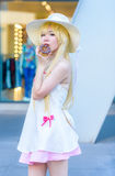 Cosplayer as characters Shinobu from Bakemonagatari royalty free stock images